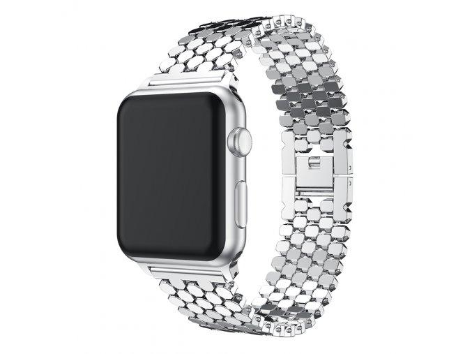 ocelovy reminek pro apple watch s osmihrany stribrny 01