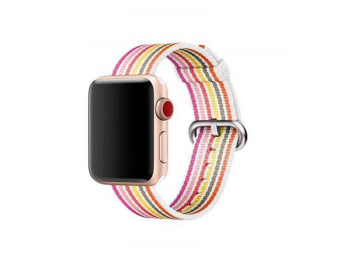 ruzove prouzkovany tkany nylonovy reminek pro apple watch 01