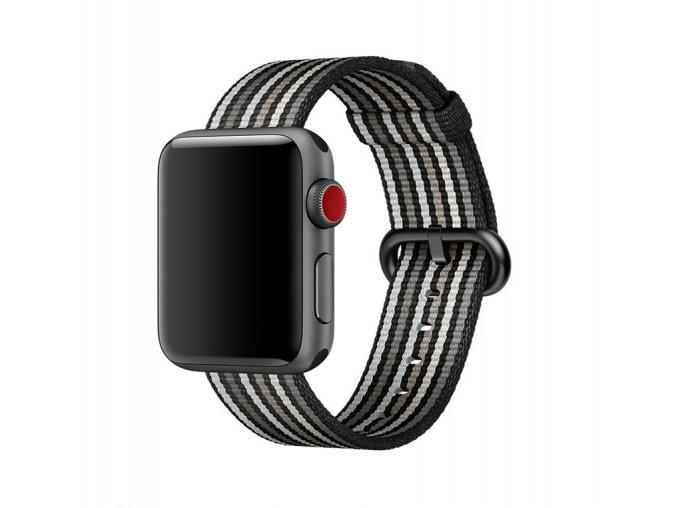 cerne prouzkovany tkany nylonovy reminek pro apple watch 01