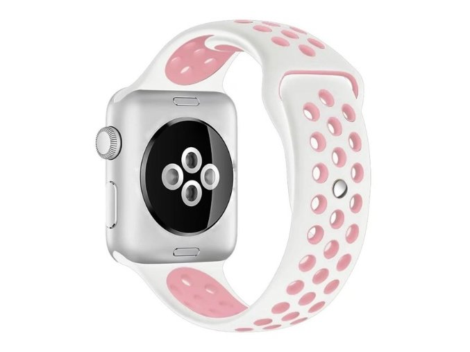 ruzovobily silikonovy reminek pro apple watch 38 mm