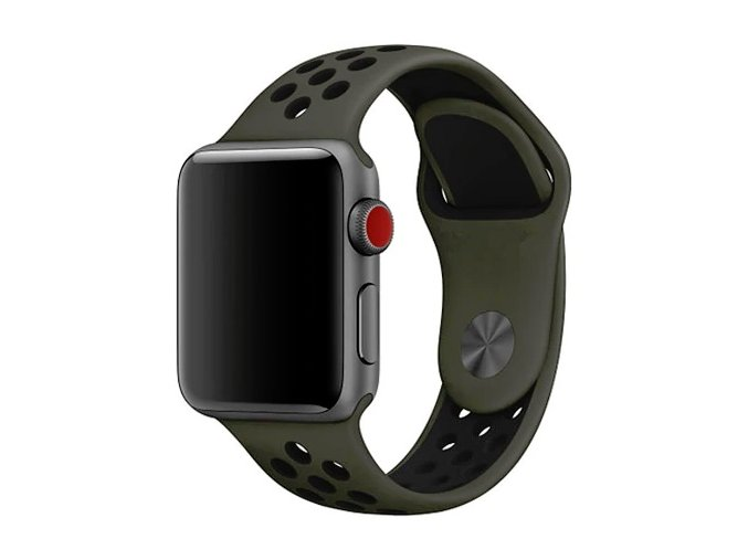 khakicerny silikonovy reminek pro apple watch 42 mm