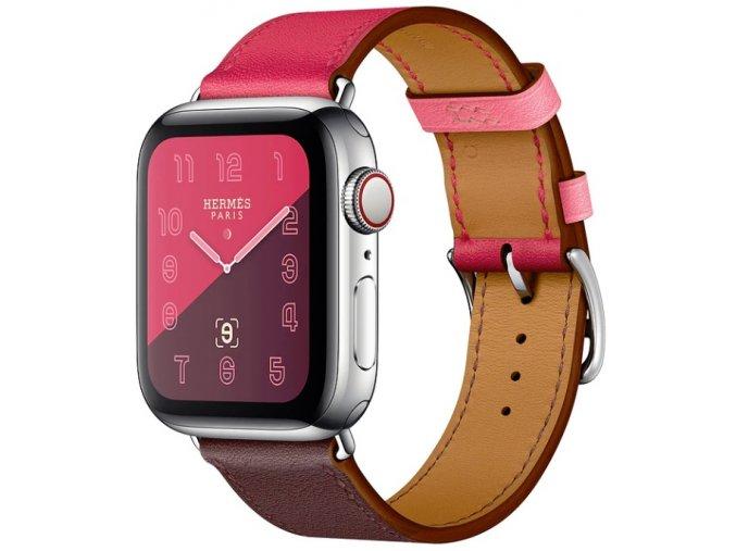 kozeny reminek pro apple watch s dvojitou ocelovou prezkou cervenohnedy 01