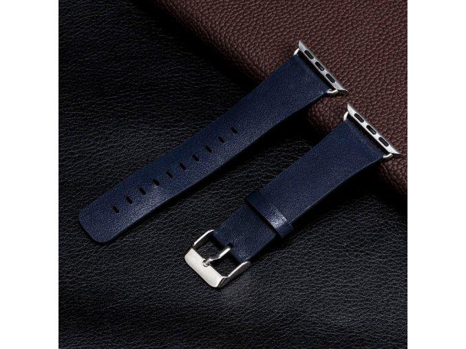 Kožený řemínek pro Apple Watch 42, 44 a 45 mm s klasickou ocelovou přezkou půlnočně modrý