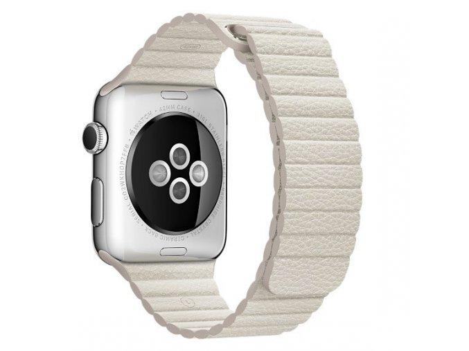 luxusni kozeny reminek s magnetickym zapinanim pro apple watch anticka bila