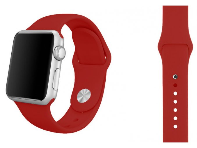 cervena ruze silikonovy reminek pro apple watch