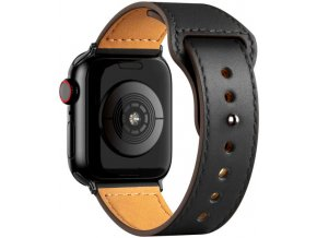 kozeny reminek pro apple watch se zapinanim na kolicek cerny