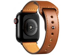 kozeny reminek pro apple watch se zapinanim na kolicek hnedy