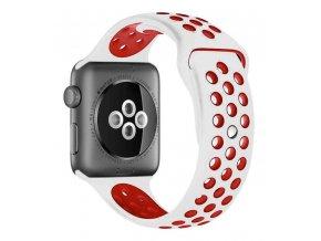 bilocerveny silikonovy reminek pro apple watch