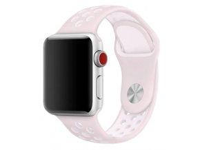 ruzovobily silikonovy reminek pro apple watch