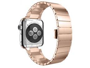 luxusni clankovy reminek z nerezove oceli pro apple watch 38 mm ruzovozlaty 01