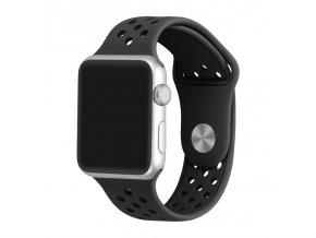 cerny silikonovy reminek s odvetravacimi otvory pro apple watch 42 mm 02