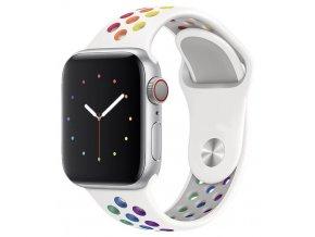 bily duhove prouzkovany silikonovy reminek pro apple watch