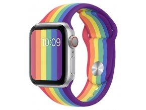 duhove prouzkovany silikonovy reminek pro apple watch