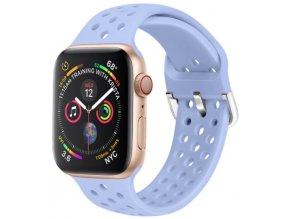 silikonovy reminek s odvetravacimi otvory a prezkou pro apple watch svetle fialovy