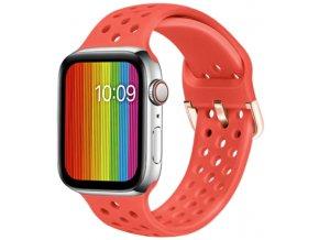 silikonovy reminek s odvetravacimi otvory a prezkou pro apple watch cervena ruze