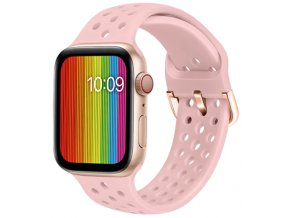 silikonovy reminek s odvetravacimi otvory a prezkou pro apple watch ruzovy