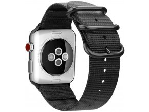 tkany nylonovy reminek pro apple watch s trojitou prezkou cerny