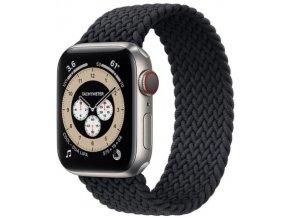 silikonovy navlekaci reminek pro apple watch pleteny cerny