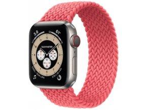 pleteny nylonovy navlekaci reminek pro apple watch ruzovy