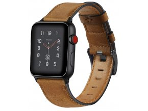 retro kozeny reminek pro apple watch 42 a 44 mm s klasickou ocelovou prezkou hnedy 01