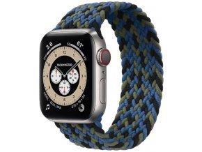 pleteny nylonovy navlekaci reminek pro apple watch cernomodrozeleny