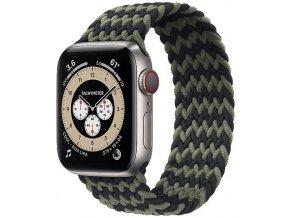 pleteny nylonovy navlekaci reminek pro apple watch cernozeleny