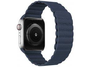 kozeny reminek s magnetickym zapinanim pro apple watch pulnocne modry