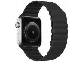 Luxusní kožený řemínek s magnetickým zapínáním pro Apple Watch 42 a 44 mm černý