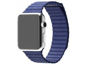 Luxusní kožený řemínek s magnetickým zapínáním pro Apple Watch 42 mm modrý