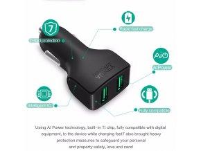 USB nabíječka do auta Aukey 2 porty