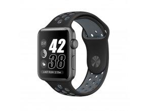 Černošedý silikonový řemínek pro Apple Watch 38, 40 a 41 mm