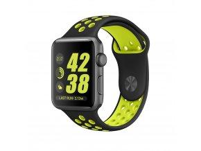 Černozelený silikonový řemínek pro Apple Watch 38 a 40 mm