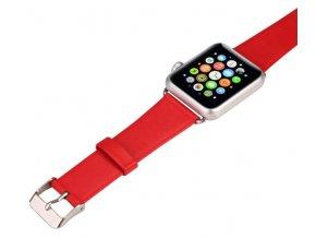 Kožený řemínek pro Apple Watch 38 mm s klasickou ocelovou přezkou červený