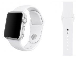 Bílý silikonový řemínek pro Apple Watch 42, 44 a 45 mm
