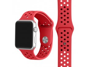 cerveny silikonovy reminek s odvetravacimi otvory pro apple watch 42 mm 01