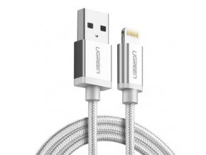kabel lightning usb pro iphone a ipad dlouhy 2m bily nylon titulek