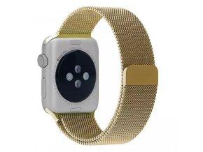 Ocelový řemínek Milánský tah s magnetickým zapínáním pro Apple Watch 42 a 44 mm zlatý