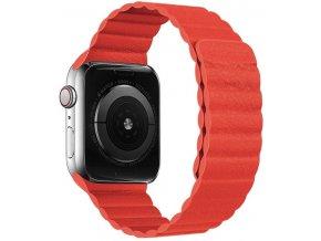 kozeny reminek s magnetickym zapinanim pro apple watch cerveny