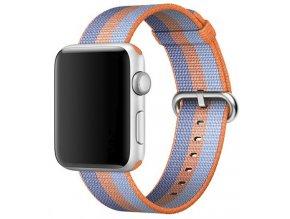 oranzovy pruhovany tkany nylonovy reminek pro apple watch