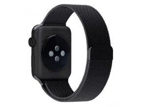 Ocelový řemínek Milánský tah s magnetickým zapínáním pro Apple Watch 38 mm černý