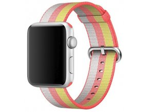 cerveny pruhovany tkany nylonovy reminek pro apple watch