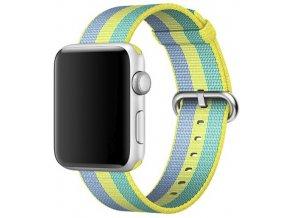 zluty pruhovany tkany nylonovy reminek pro apple watch