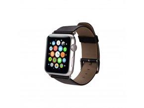 Kožený řemínek pro Apple Watch 42, 44 a 45 mm s klasickou ocelovou přezkou černý