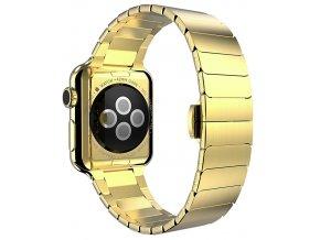 luxusni clankovy reminek z nerezove oceli pro apple watch zlaty