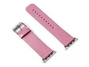 kozeny reminek pro apple watch 38 a 40 mm s klasickou ocelovou prezkou ruzovy