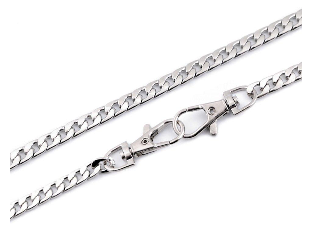 Řetěz s karabinami 120 cm plochý stříbrný