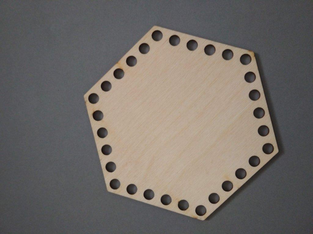 4223 dreveny vyrez sestiuhelnik 15cm