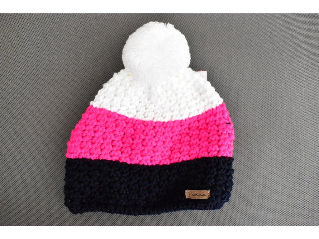 Čepice Relax Black&Pink&White