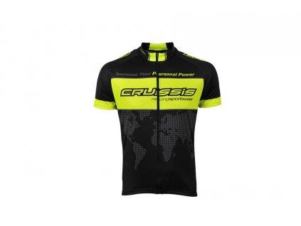 Cyklistický dres CRUSSIS - černá / žlutá fluo, vel. XS