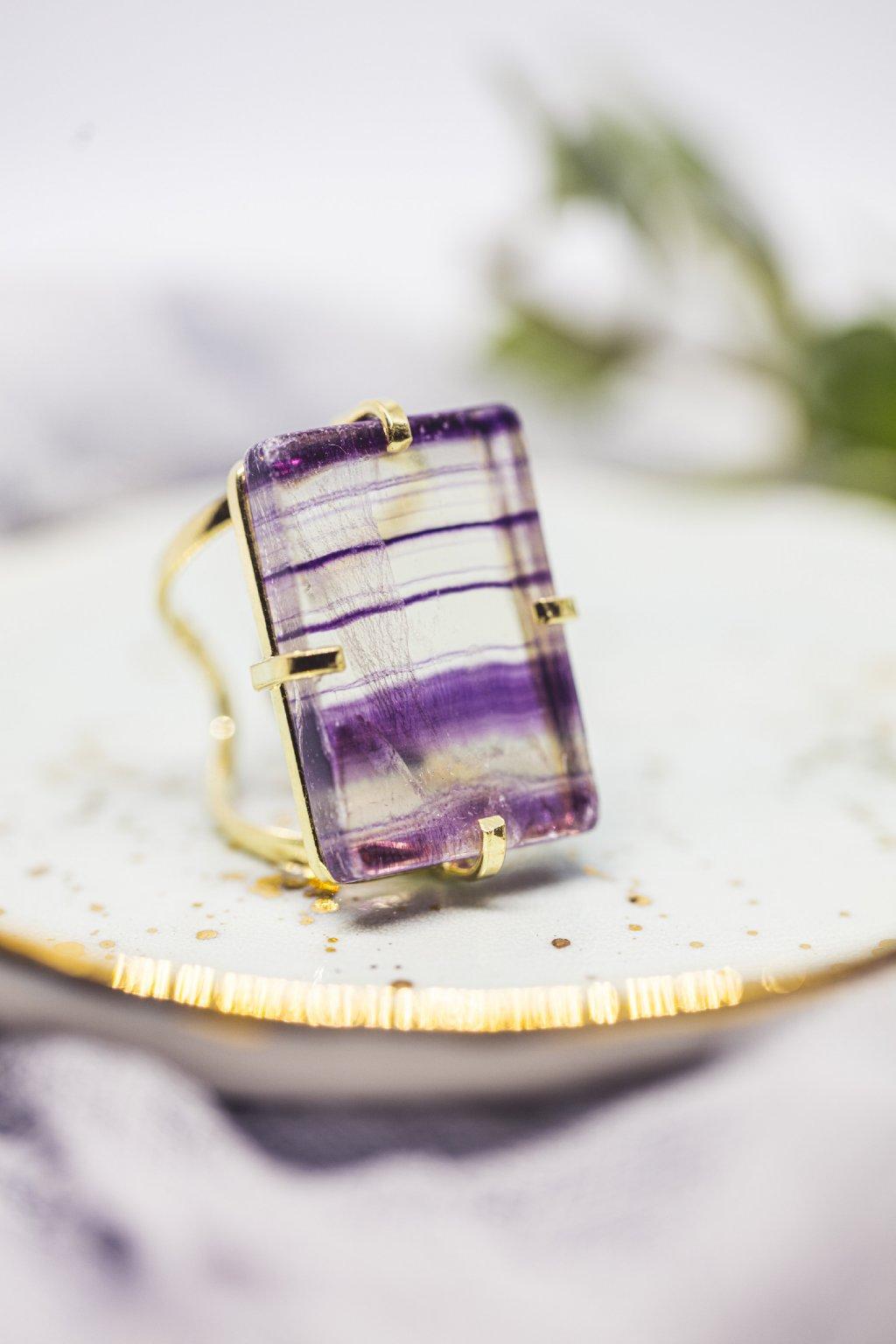 Prsten s fluoritem - pozlacený